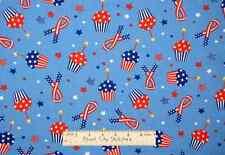Patriotic USA Cupcakes Star Ribbon July 4th Independence Day Fabric YARD
