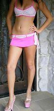 NWT Neon HOT PINK POLKA DOT Bikini & Skirt 3piece Set M