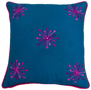 S4Sassy Cotton Floral Embroidered Blue Pillow Cover Square Cushion-rm7
