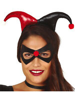 Adult Jester Headband + Mask Ladies Halloween Clown Circus Fancy Dress Accessory