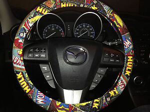Marvel Comics Steering Wheel Cover w/ Iron Man, Captain America, Wolverine