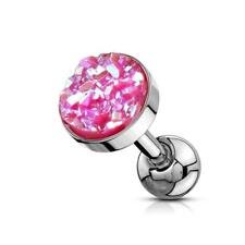 316L Surgical Steel Cartilage/Tragus Stud with Pink Druzy Stone Flat Set Top