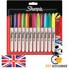 Sharpie Pack of 12 Fine Point Assorted Permanent Markers Pens - GENUINE SHARPIES