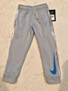 NWT Nike small Boy's Therma Dri-Fit Fleece Pants Wolf Gray size 4 and 5 swoosh