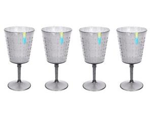 Set of 4/6/8 Wine Goblets Reusable Plastic Embossed Blue Grey Summer Party BBQ