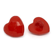 10 Red Heart Resin Shank Buttons 15mm  Sewing crafts quilting