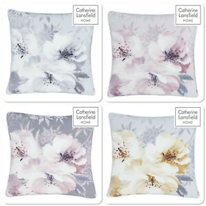 Catherine Lansfield Dramatic Floral Cushion Cover Silver, Blush, Grey Or Ochre