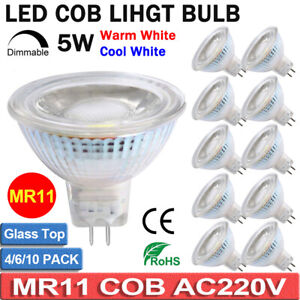 10x MR11 Dimmable LED Light Bulbs Spotlight Lamp Warm Cool White AC220-240V 5W