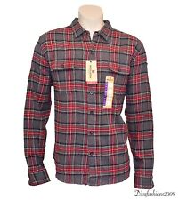 NEW Woolrich Red Gray Plaid Check Men's long Sleeve Flannel Shirt Size 2XL XXL