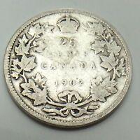 1902 Canada 25 SC Twenty Five Cents Quarter King Edward VII Canadian Coin G125
