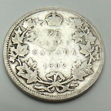 1902 Canada 25 SC Twenty Five Cents Quarter King Edward VII Canadian Coin G125