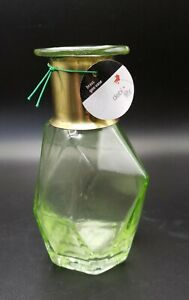 Green Glass Brass Vase Debi Lilly Geometric Modern NEW w/ Tag
