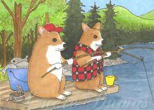 ACEO art print Dog 72 Corgi fishing from funny original painting L.Dumas