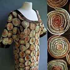 VTG Retro Style Dress 3D Ribbon Swirl Kimono Slv Coco Brown Gold Metallic L XL