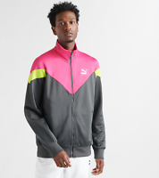 Men's Iconic MCS Puma Full Zip Track Jacket Grey Lime Pink Size Large NEW $70