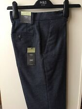 """Marks and Spencer M&S Mens Trousers W Size 28"""" Leg 33"""" Slim Fit Blue Length 42"""""""