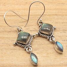 Cabochon Gemstone Ladies Art Earrings 925 Silver Overlay Natural Labradorite 2