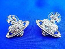 Silver Crystal Orb Heart Earrings - Vivienne Westwood Style