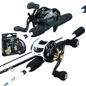 Bait Cast Fishing Rod And Reel Combo 3 Sections 1.8M Lure Pole 7.2:1 Tackle Tool