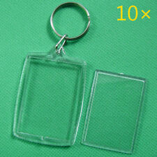 10Pcs Keychain Key Rings Blank Clear Transparent Acrylic Picture Frames Lockets