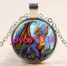 Vintage Dragon Cabochon Tibetan silver Glass Chain Pendant Necklace #1900