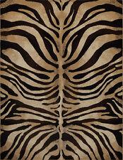 "3x5 (3'3"" x 4'7"") Contemporary Zebra Animal Skin Carved Brown Black Area Rug"