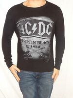 AC/DC Back in Black Long Sleeve Black 100% Cotton Thermal Size Men's S