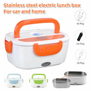 Portable Electric Heated Lunch Box 12V 110/220V Home Car Use Food Warmer Steel