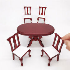 1:12 Dining Table and Chairs Dollhouse Miniature Wooden Kitchen Furniture