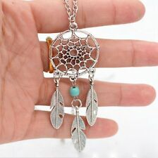 Retro Turquoise Dream Catcher Leaf Pendant Charm Choker Necklace Woman Jewelry
