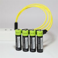 4X ZNTER 1.5V AA 1250mAh Rechargeable Battery Micro USB Charge Cable