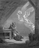 Gustave Dore The Annunciation Poster Reproduction Paintings Giclee Canvas Print