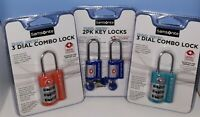 LOT OF 4 Samsonite Travel Sentry 3-Dial Combo Lock(2) & Key Lock(2).TSA APPROVED