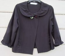 Willow Black 3/4 Sleeve Ruffle Accented Jacket Open Front Wms Med USA!
