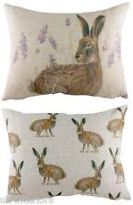 "17"" x 13"" Standing Hare Wrap Repeat Cushion - Evans Lichfield Rural DP328 Rabbit"