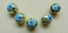 5 Japanese Tensha Beads BLUE ROSE on GOLD ROUND Beads 12mm