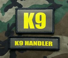 K9 Handler OD Green and Gold Morale Patch Set Sheriff Border Patrol SWAT