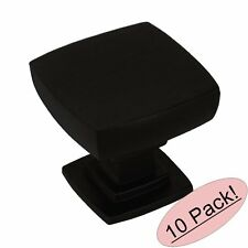 *10 Pack* Cosmas Cabinet Hardware Flat Black Contemporary Square Knobs #5232FB