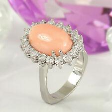 Ring in 750 Weißgold 18K mit 1 Koralle Engelhaut + Diamanten ca 1,08 ct Gr. 51