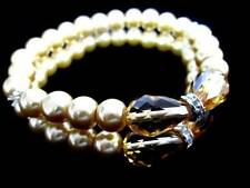 Glass Crystal Pearl Dual Anklet Bracelet 4 Metallic Colors MultiWear Made in USA