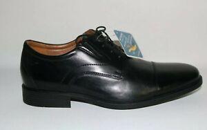 Mens Whiddon Cap Clarks Black Leather Dress Shoes  Size 11.5 M Comfort Fit New