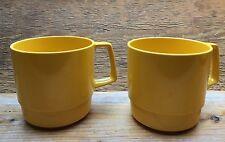 Vintage Yellow Melamine Picnic Tea Cups/Plastic/Caravan Camper/Picnic Set/Italy
