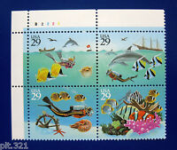 Sc # 2863-2866 (2866a) ~ Plate # Block ~ 29 cent Wonders Of The Sea Issue (cg9)