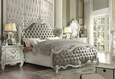 MAVELLA-5pcs Euro Traditional White Queen Upholstery Panel Bedroom Set Furniture