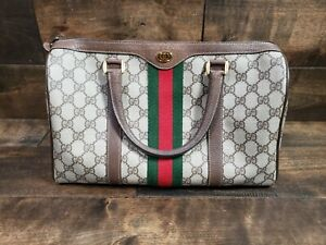 Gucci Boston Satchel Supreme GG Monogram Canvas Handbag Pre-owned w/ Entrupy COA