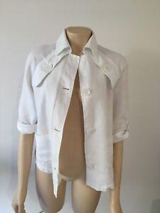 Black Pepper Size 10 White Linen Shirt Jacket - Excellent Condition
