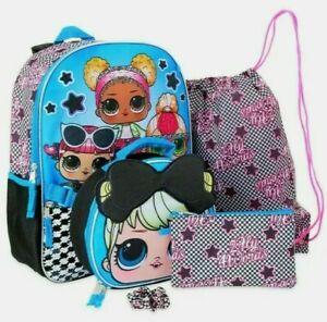 "LOL Surprise Glam Squad Girls 5 PC Backpack Set Book Bag 16"" School & Lunch bag"