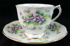 Royal Albert SWEET VIOLETS Footed Cup & Saucer Set Bone China GREAT CONDITION