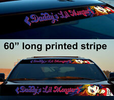"60"" Daddys Monster Harley Quinn Strip Printed Windshield Car Vinyl Sticker Decal"