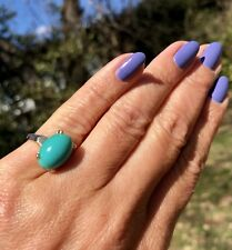 14K Yellow Gold Oval Blue Turquoise Cabochon Pinky Ring